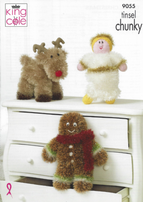 King Cole Tinsel Chunky - 9055 Angel, Reindeer & Gingerbread Man Knitting Pattern